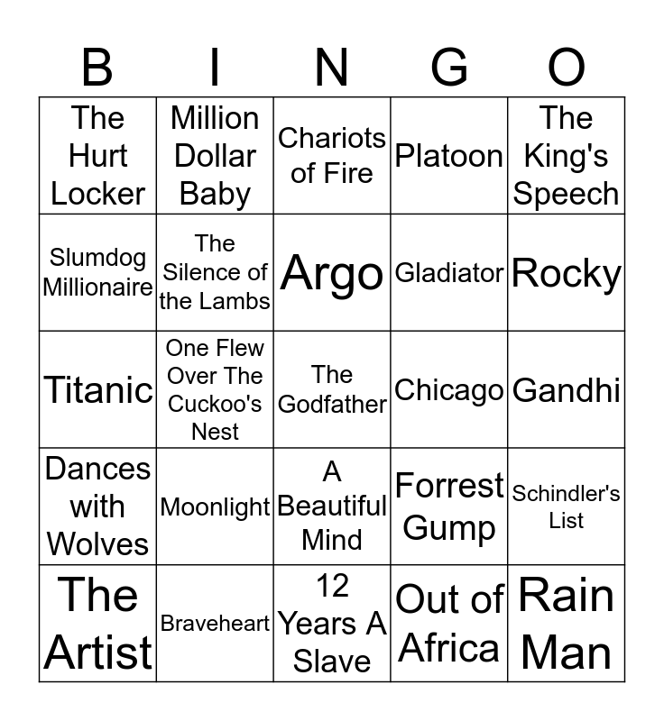 Oscar Winners for Best Picture Bingo Card