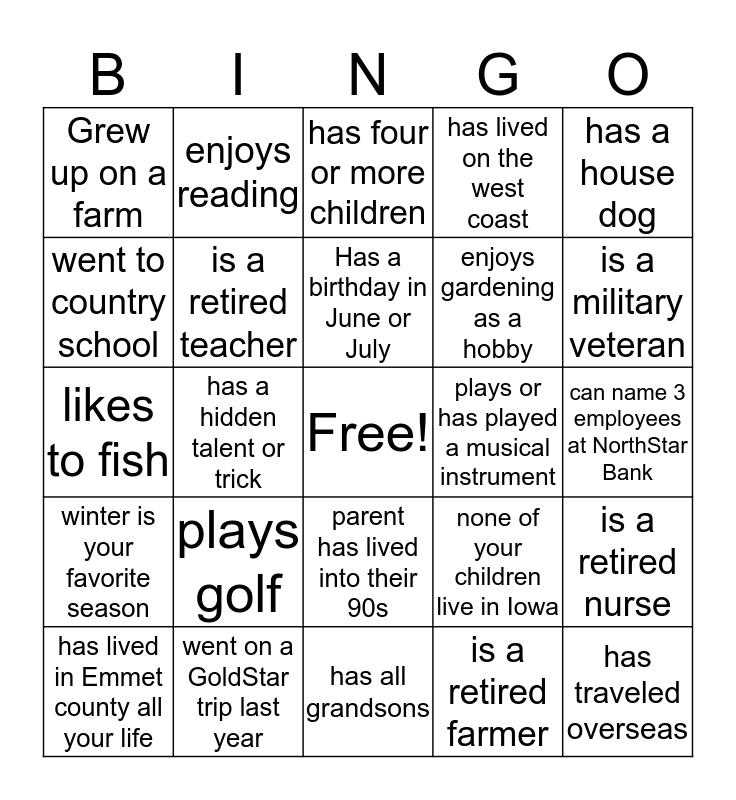 GoldStar Bingo Card