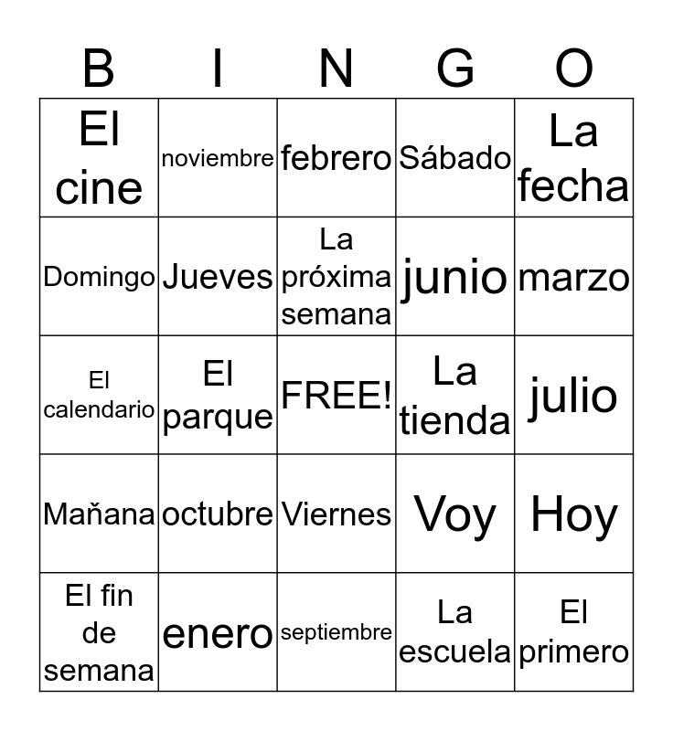 Los meses y los días de la semana Bingo Card
