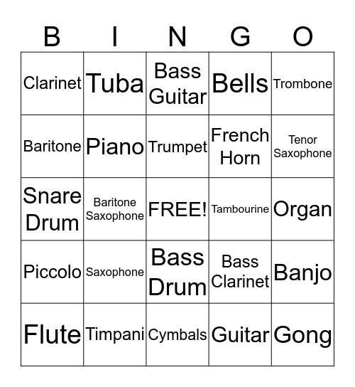 Musical Instrument Bingo Card