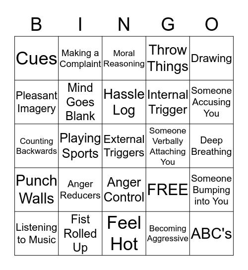 Anger Bingo Card