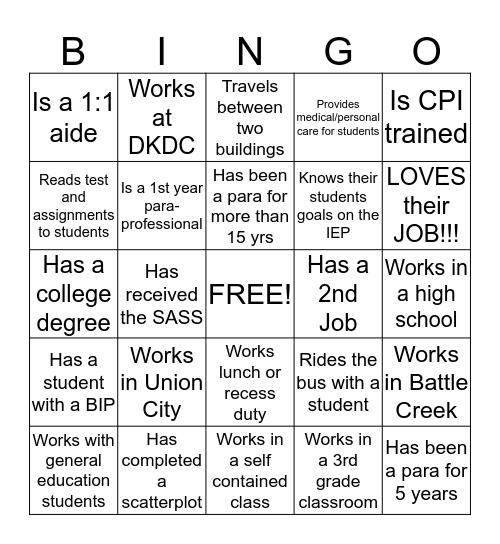 Para-Professional Bingo Card