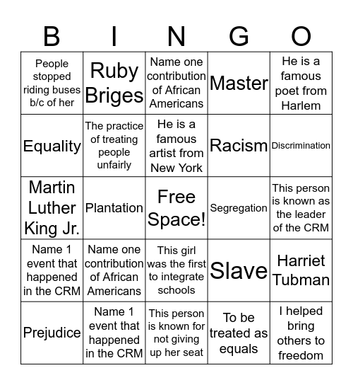 African American History Bingo Card