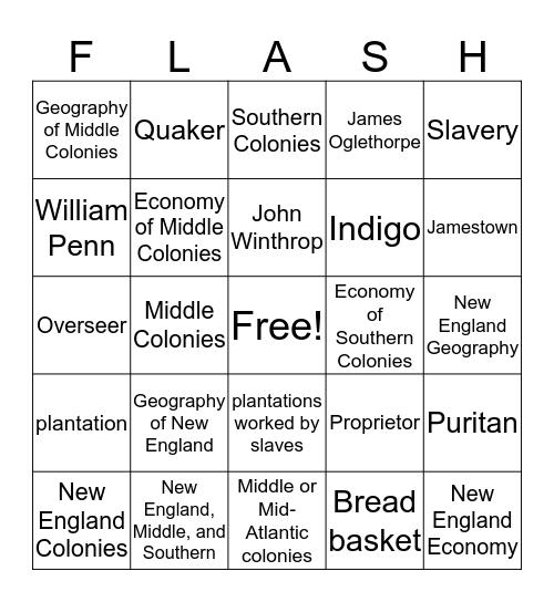 13 Colonies FLASH Review  Bingo Card