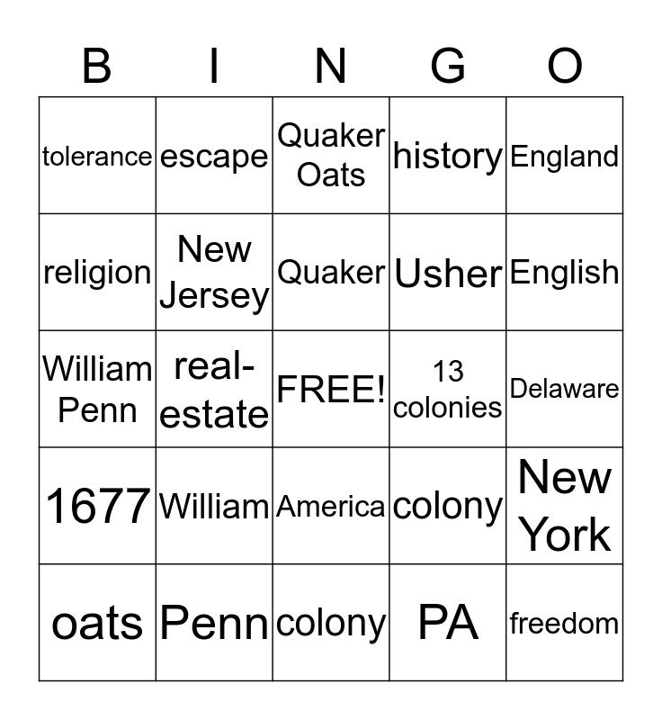 13 colonys religion  Bingo Card