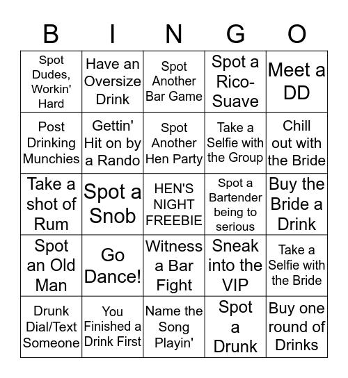 Bachelorette Bar Bingo  Bingo Card