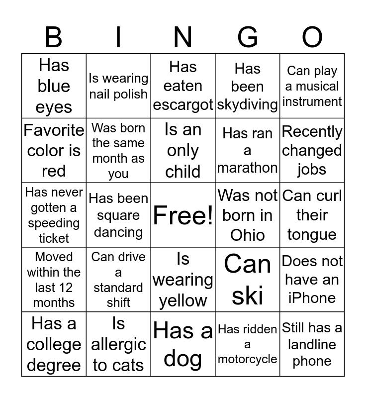 FIND A FRIEND Bingo Card