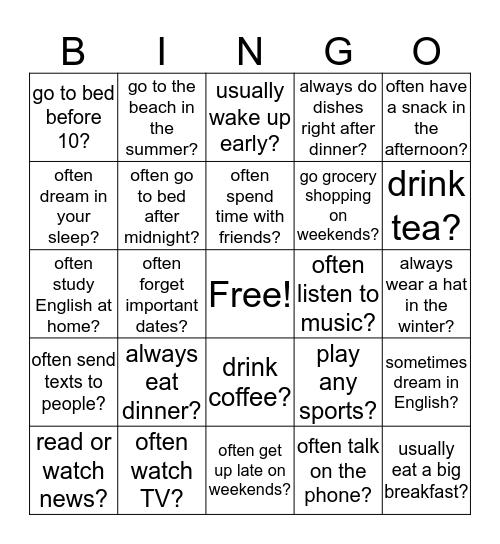 Do you...? Bingo Card
