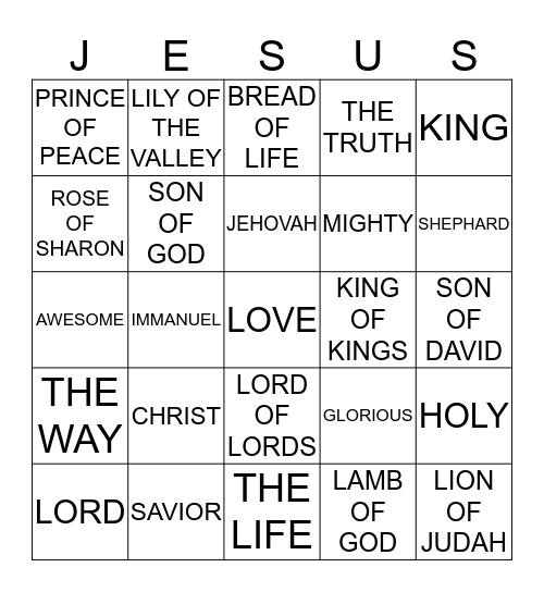 JESUS BINGO Card