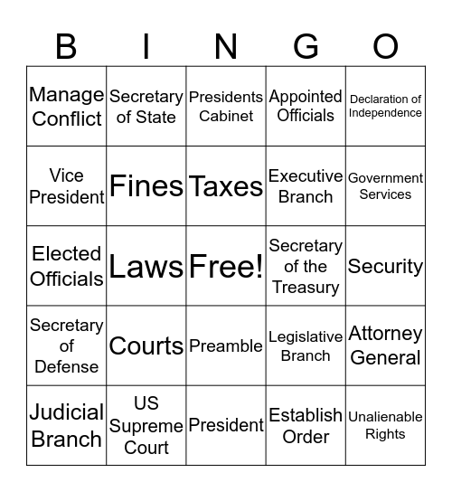 Government and Political Systems Bingo Card
