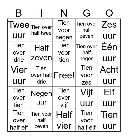 Klokkijken Bingo! Bingo Card