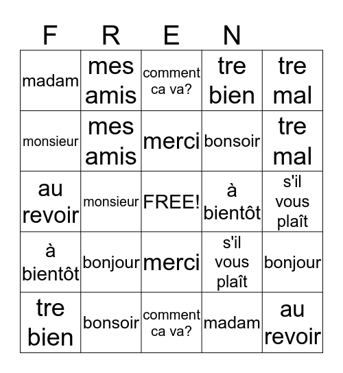 Listen to the English word... Find the French Word Bingo Card