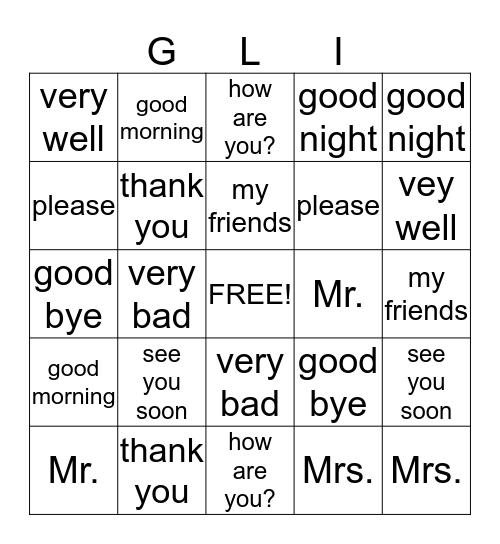 Listen to the French Word... Find the English Word Bingo Card