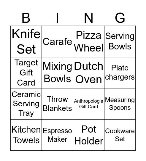 Couples Shower Bingo Card