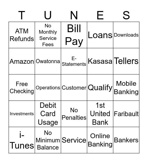 Kasasa Tunes Bingo Card