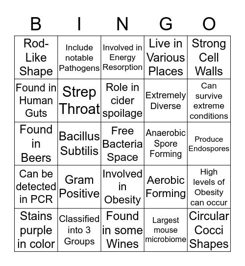 Firmicute Bacteria Bingo Card