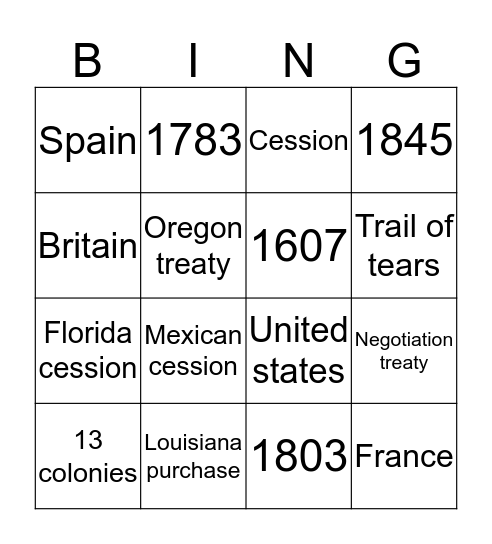 Manifest destiny  Bingo Card