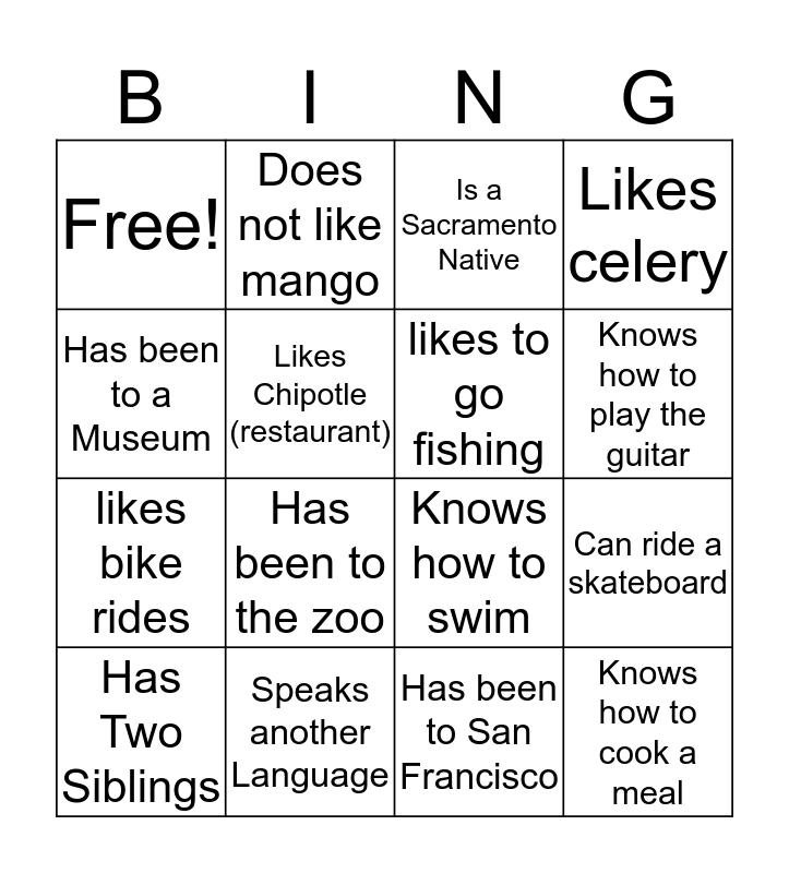 Similarities Bingo Card