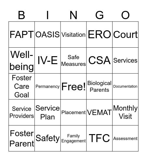 Foster Care Bingo Card