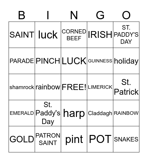 ST. PATRICKS DAY  Bingo Card