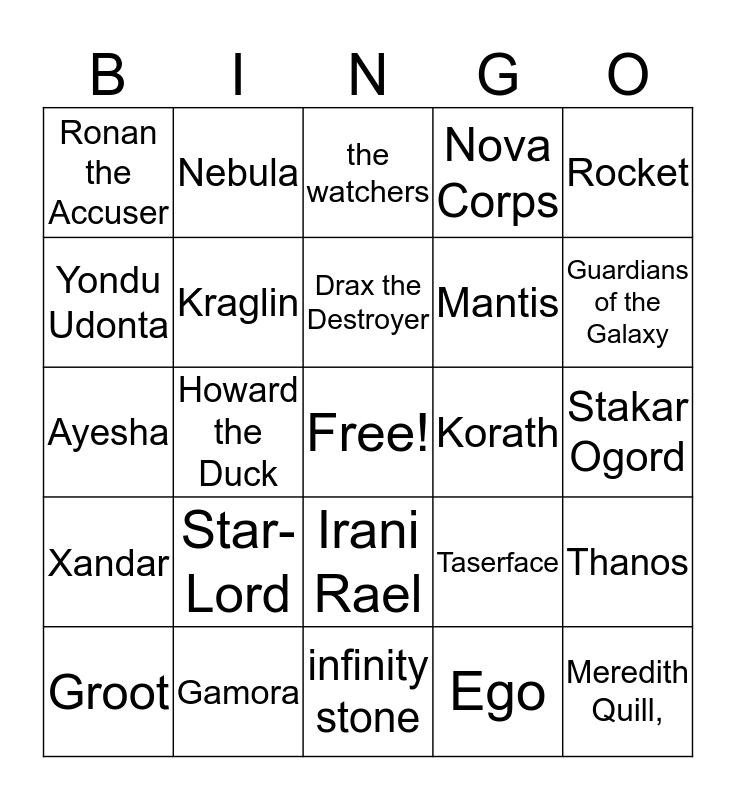 F.L.O.A.B. BINGO - Guardians of the Galaxy March 2018 Bingo Card