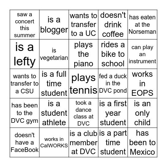 STUDENT BINGO! Bingo Card