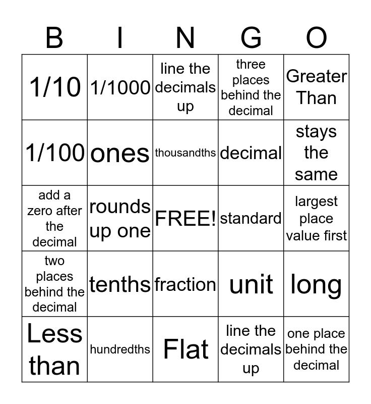 Decimal Review Bingo Card