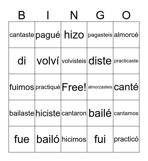 El preterito  Bingo Card