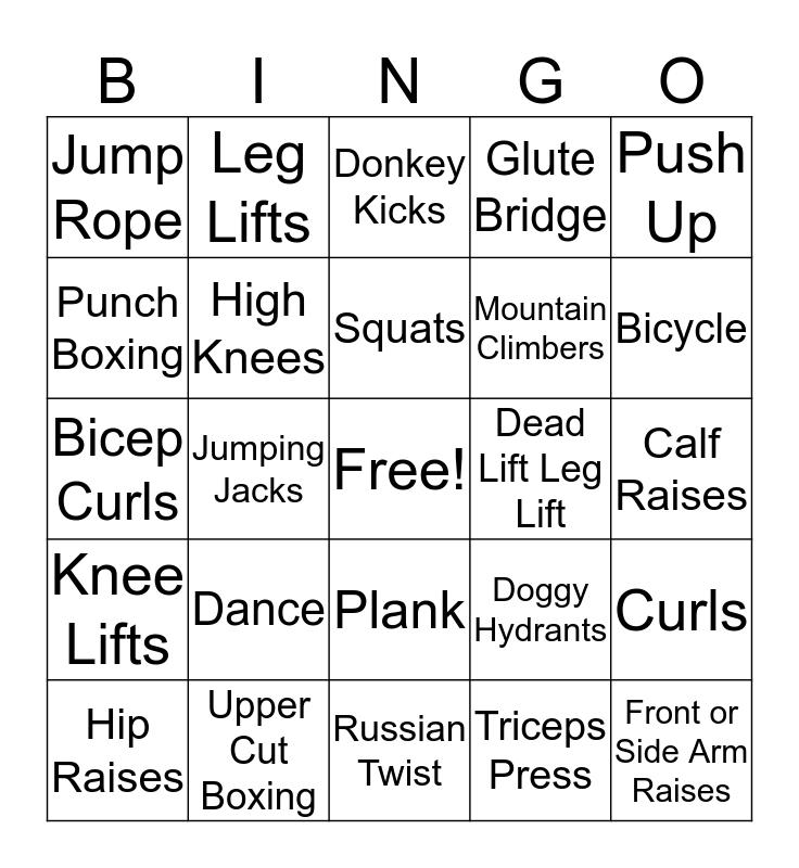 Fitness BINGO Card