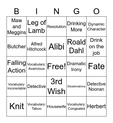 Lamb to the Slaughter/Monkey's Paw Bingo Card