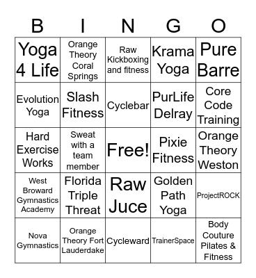 Sweat Strategy  Bingo Card