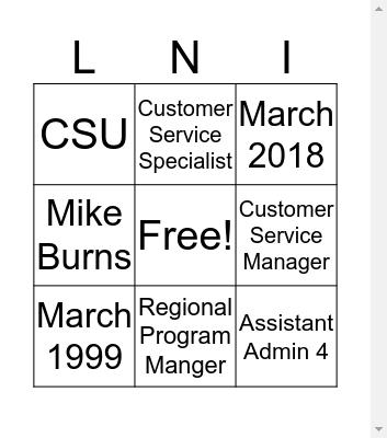 Christi Burns Bingo Card