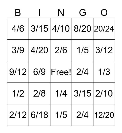 Equivalent Fractions Bingo Card