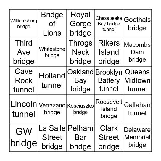Bridges & Tunnels in USA Bingo Card