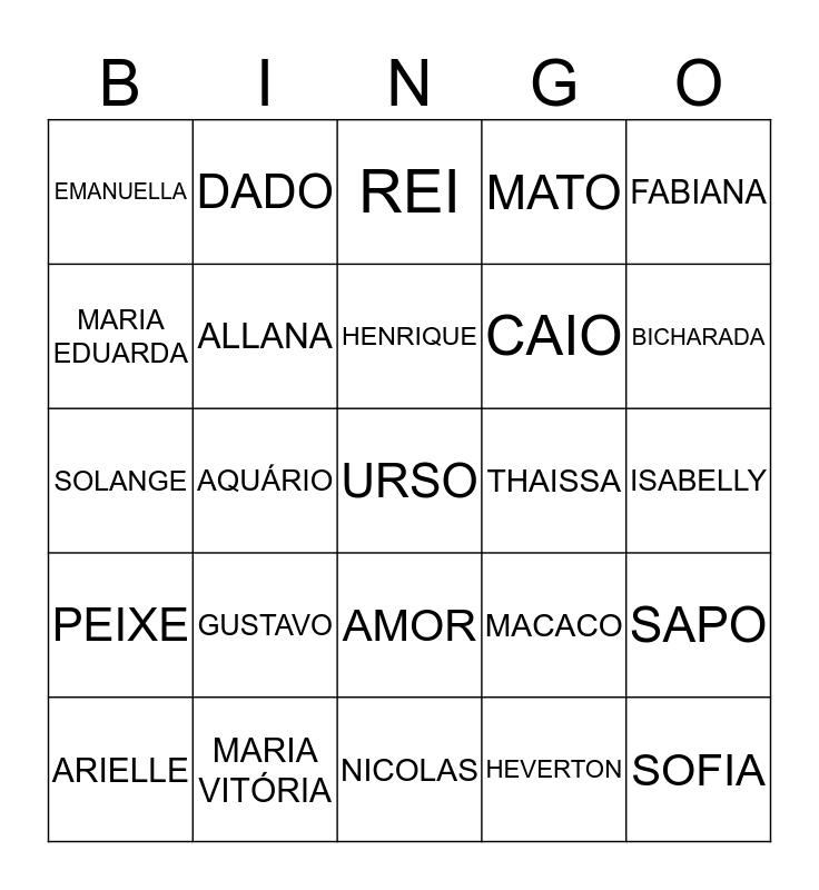 BINGO DOS NOMES Bingo Card