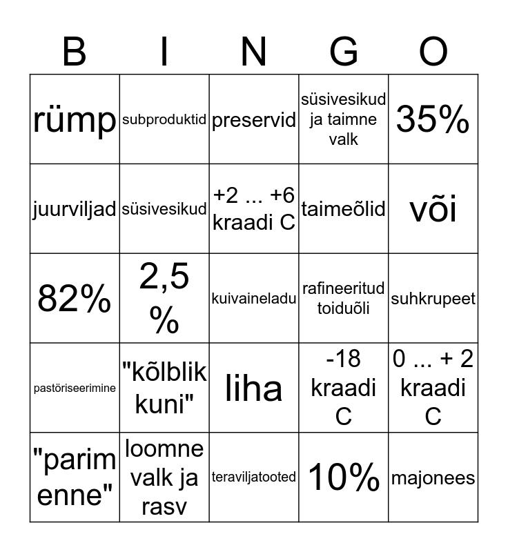 Toiduainete Bingo Card