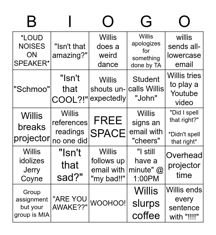 BIO 202 Bingo Card