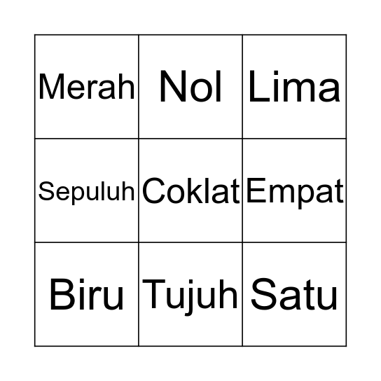 Indonesian  Bingo Card