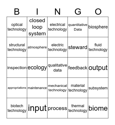 Benchmark 1 vocab Bingo Card