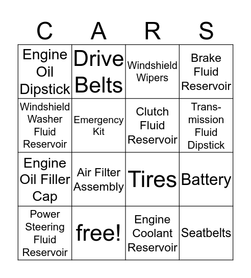 Parts of a Car Bingo Card