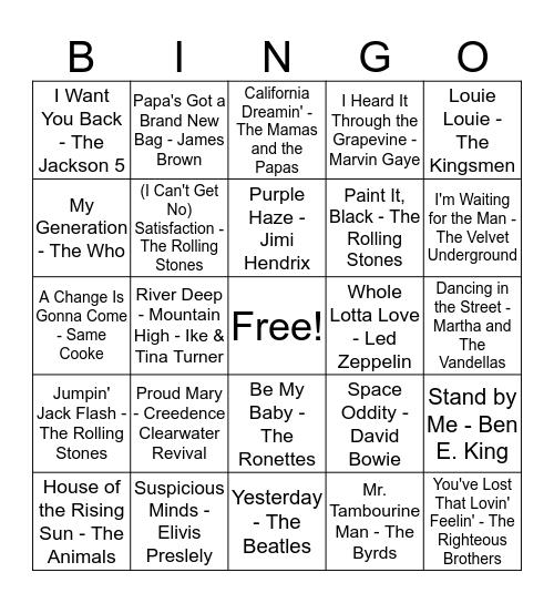 MAAG's - 1960s Music Bingo Card