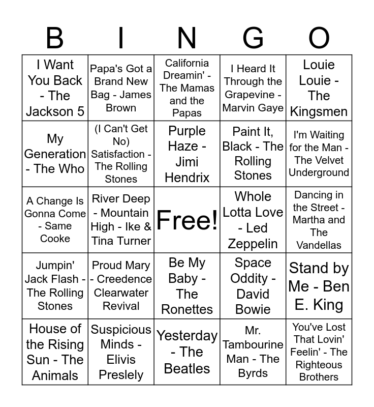 MAAG's - 1960s Music Bingo Card