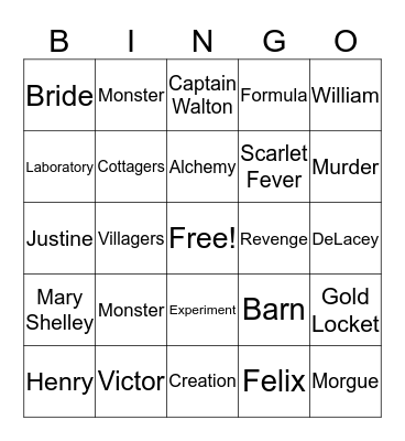Frankenstein  Bingo Card