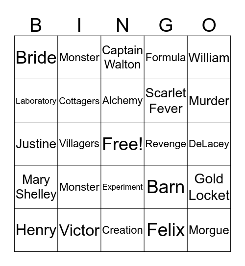 Frankenstein  Bingo Card