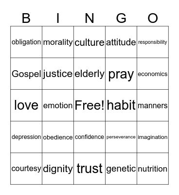 Family Life Bingo Card