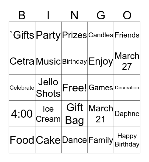 Happy Birthday Bingo Card