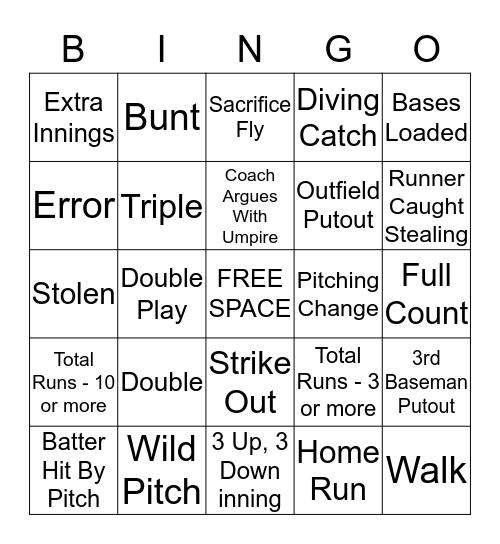 UNA Softball Bingo Card