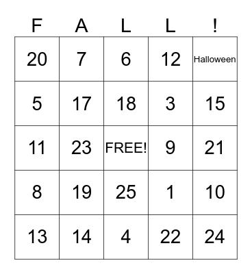 Autumn!!! Bingo Card
