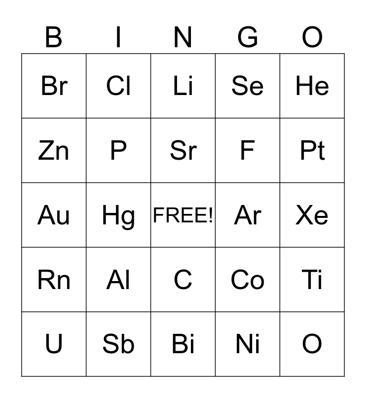Element Symbols Bingo Card