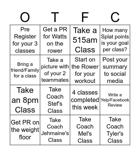 Transformation Challenge Bingo Card